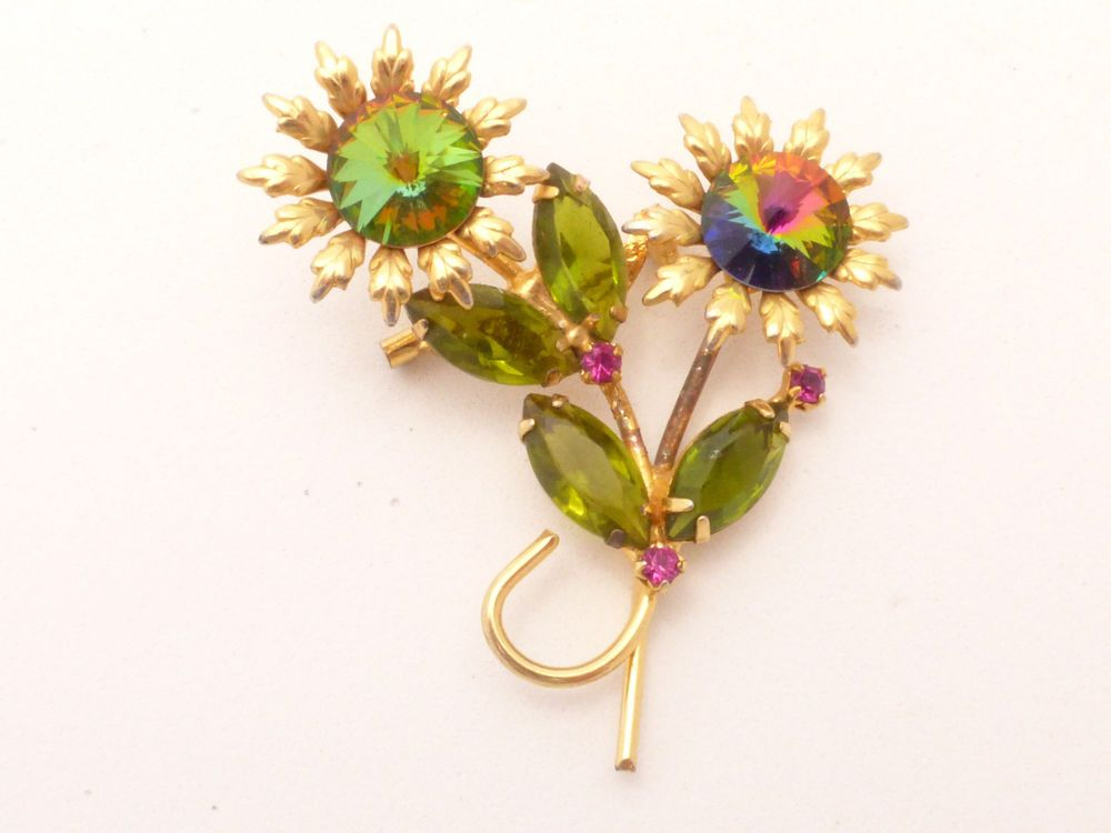 Vintage Watermelon Rivoli Flower Brooch