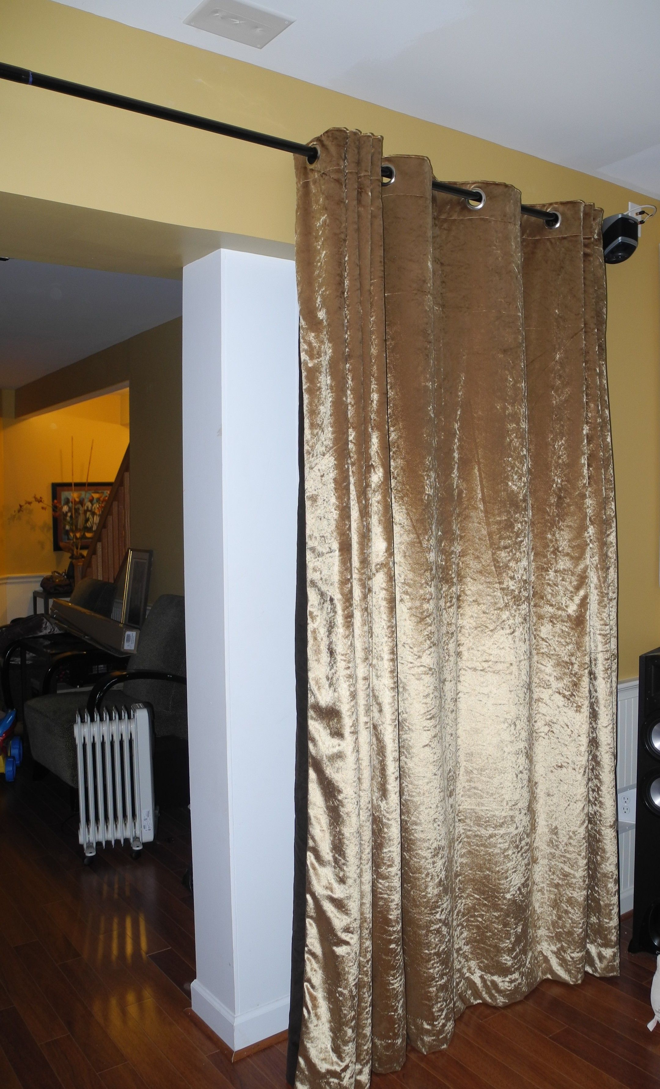 Double Sided Velvet Curtain Panel One Side Gold And