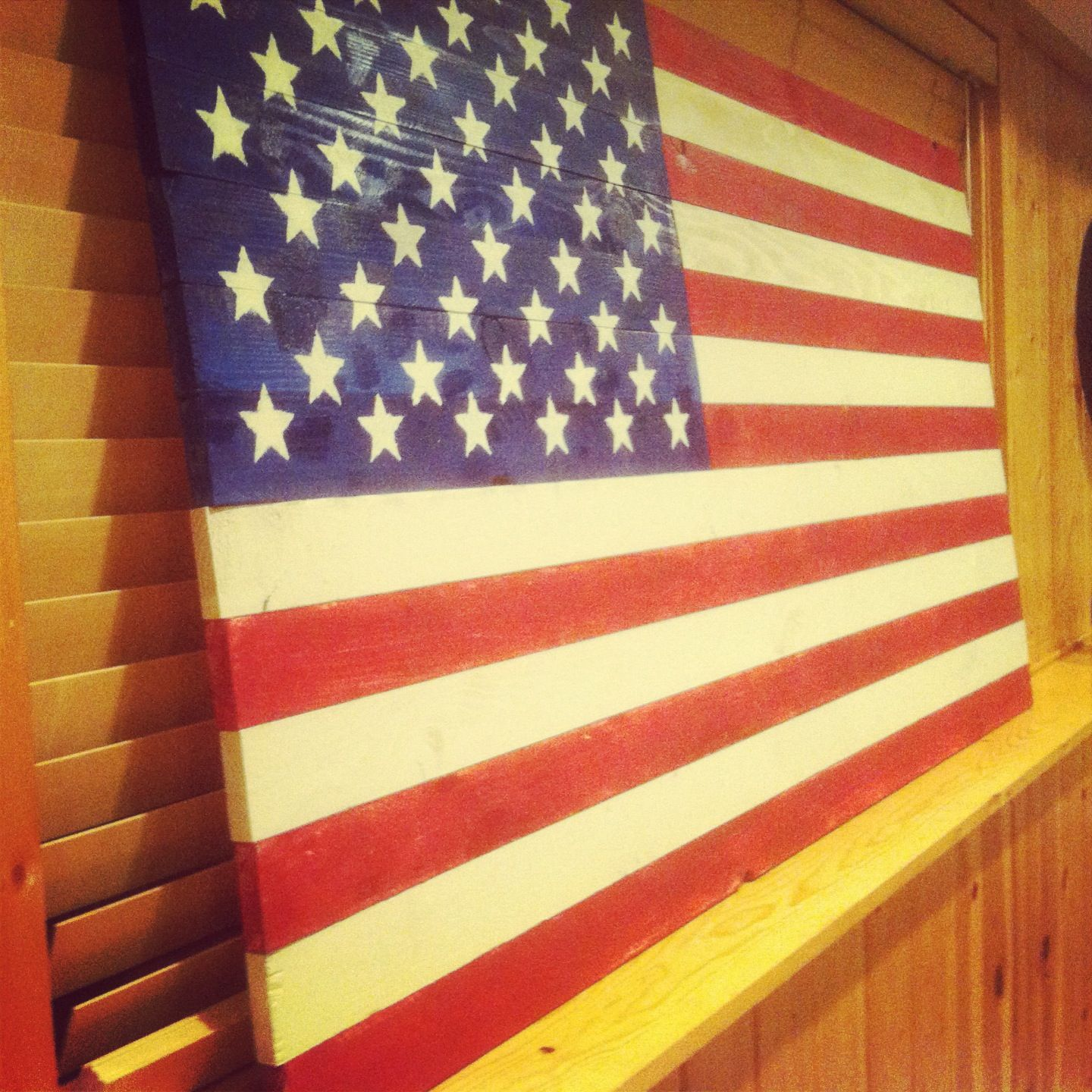 Rustic American Flag. 13 1x3 boards, a couple hours of research ...