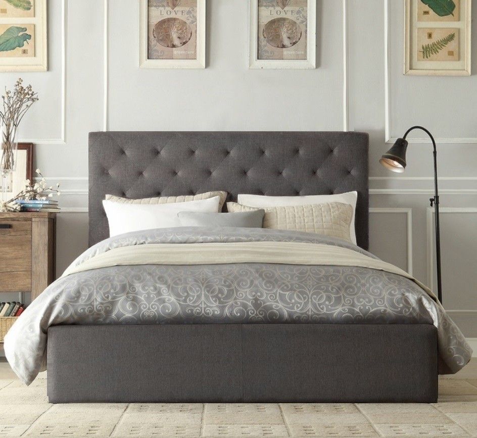 Grey Oxford Gas Lift Wooden Storage Bed Grey Bed Frame King