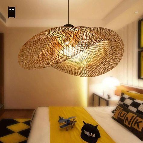 Grand bambou en osier rotin pendentif luminaire rustique asiatique japonais style suspendus lampe luminaria intérieur accueil