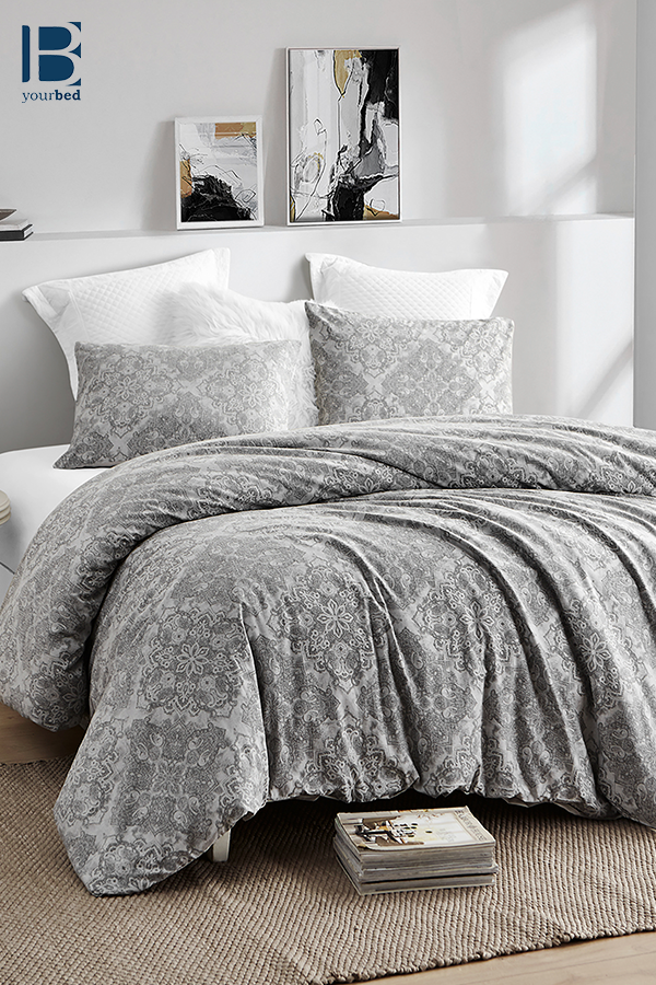 This gray duvet cover is designed to cover your oversized