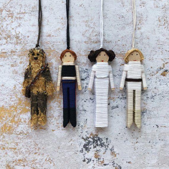 Handmade Star Wars Worry Doll Set   Star Wars Christmas Ornaments   Star Wars Clothespin Dolls