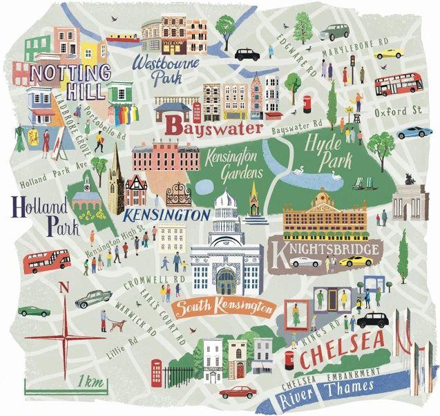 West London   City & Map illustrator - 城市與地圖插畫   London ...