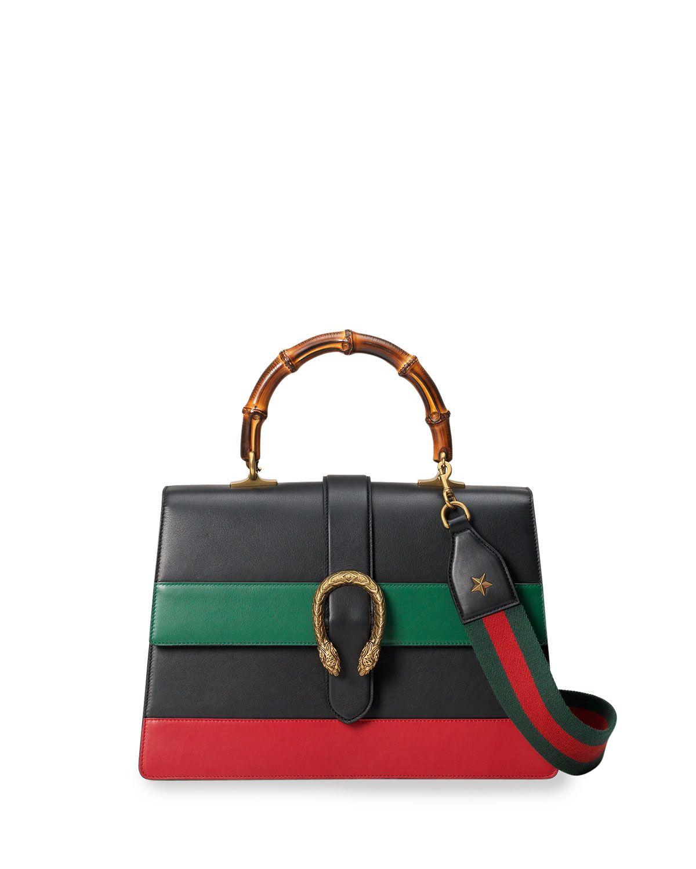 ee791901c5b0 Dionysus Striped Bamboo Top-Handle Bag Black/Green/Red | BE ...