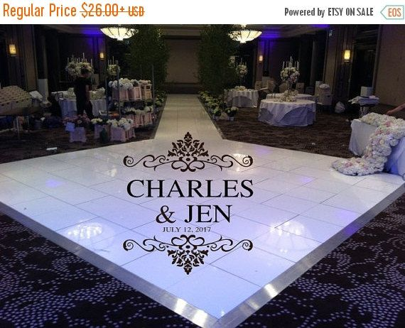 Elegant huge damask theme dance floor decal wedding day fancy calligraphy font dance floor personalized names vinyl lettering colors by wallstory on