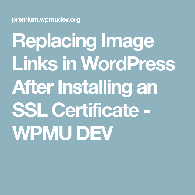 Replacing Image Links In Wordpress After Installing An Ssl