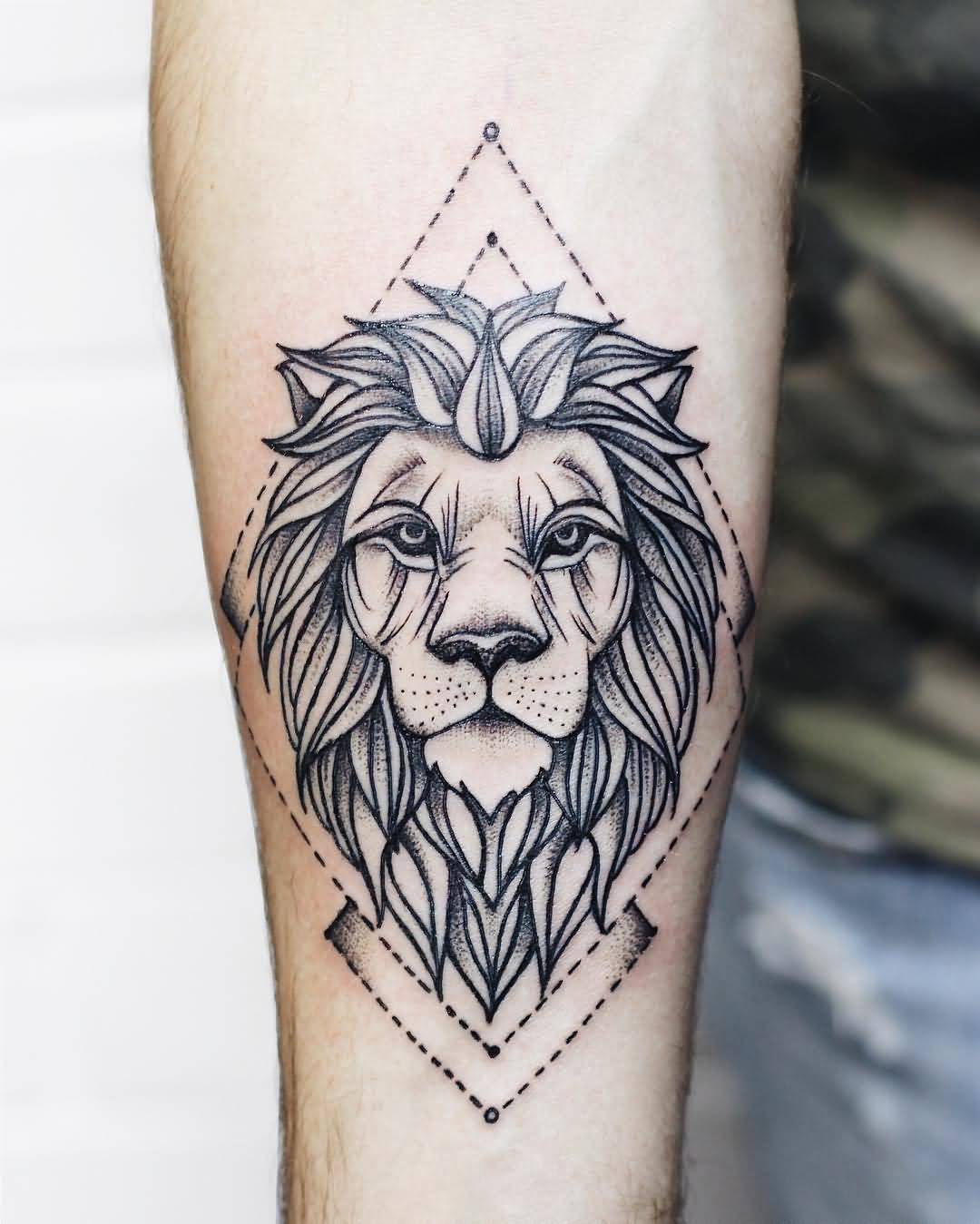 Geometric Lion Tattoo On Leg Calf Trendy Tattoos Tattoos For Guys Tattoos