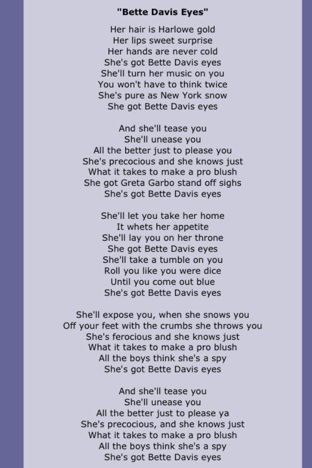 Bette davis eyes lyrics