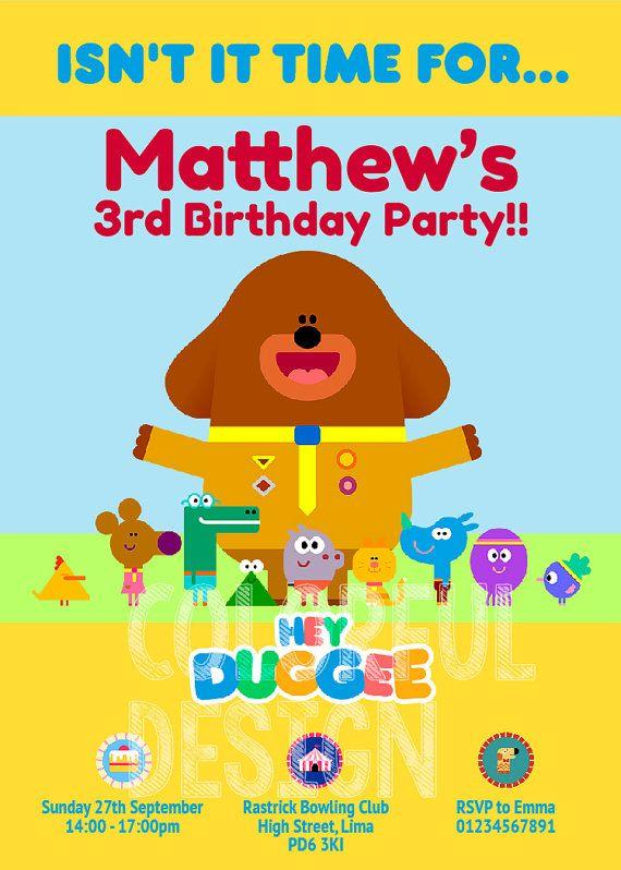 Hey Duggee Custom Digital Birthday Party Invitations by CSRdiseno – Digital Birthday Party Invitations