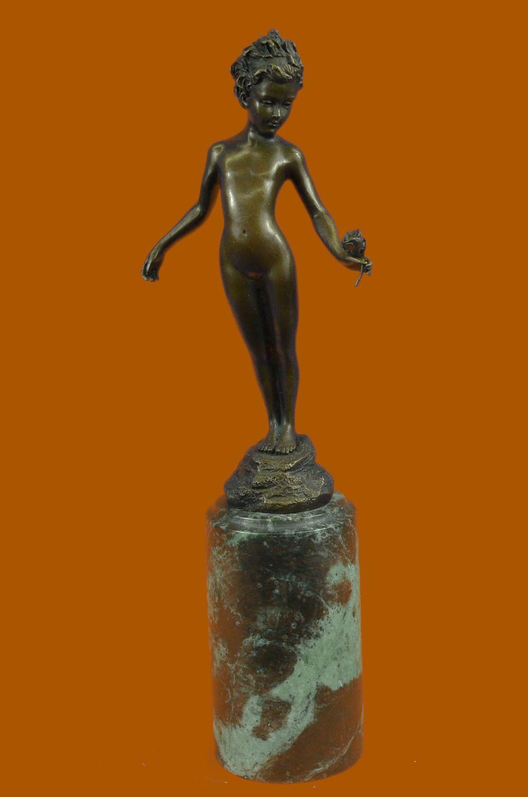 Art Nouveau Gilt Bronze Sculpture of a Young Girl Nude by