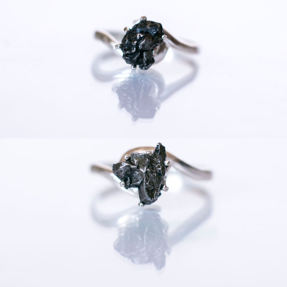 e31e129efb61d Meteorite Ring with Sterling Silver and Campo del Cielo - Engagement ...