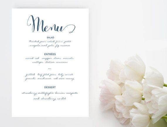 Navy blue script font wedding menu word template Printable - ms word menu template