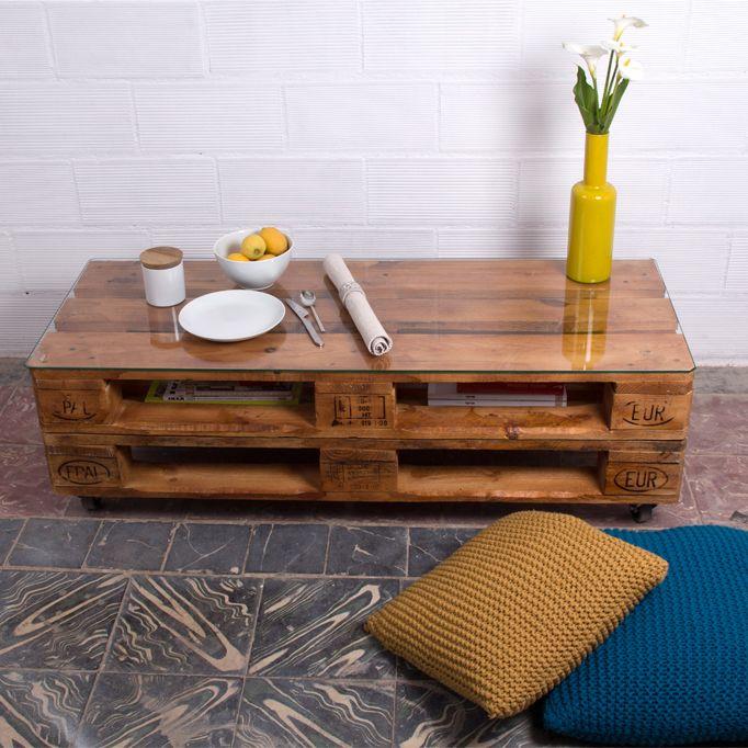 Rusell mesa palets 120x47cm 2 alturas mesas ratonas - Mesas de palets de madera ...