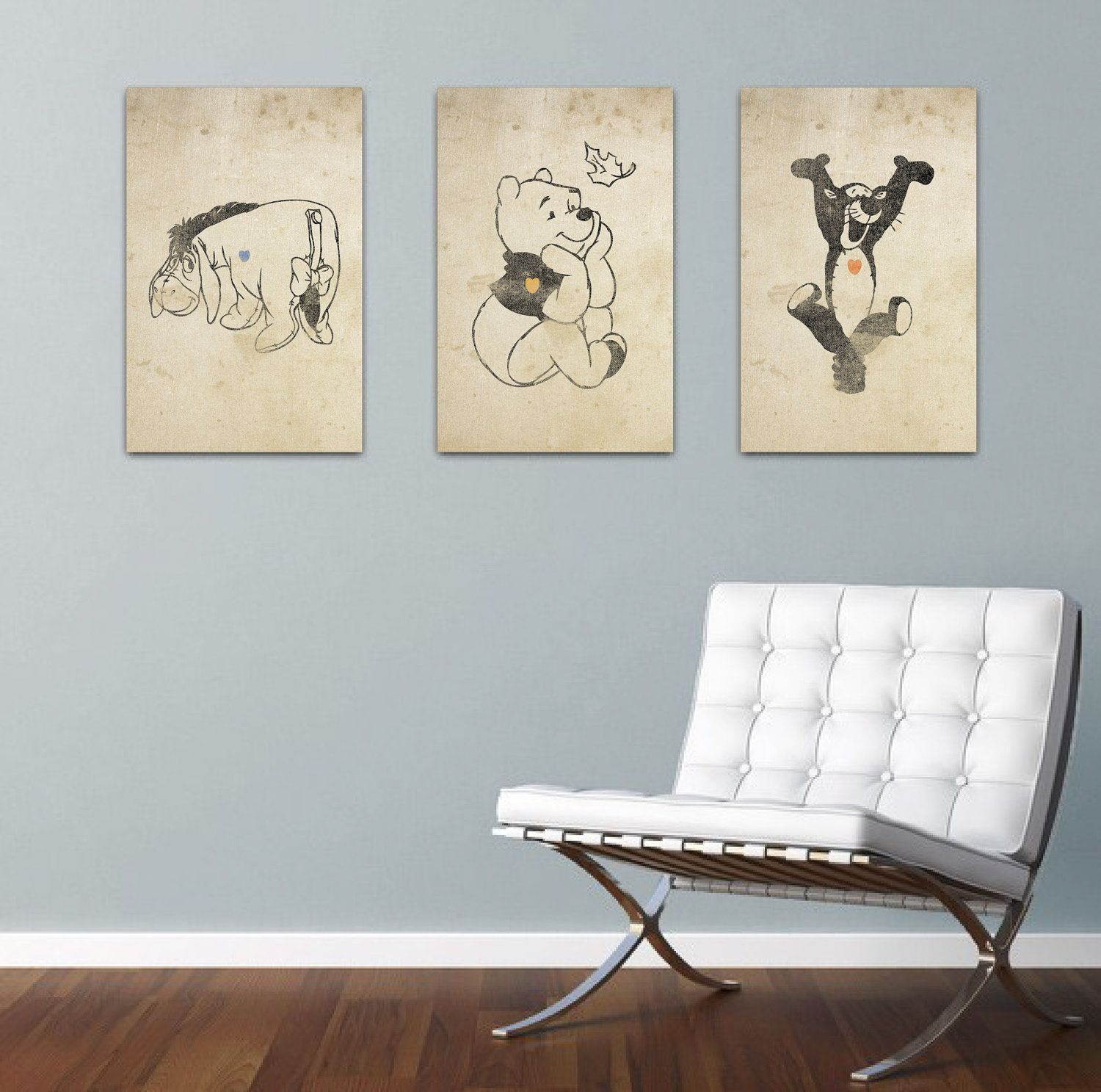 Pooh Eeyore And Tigger Inspired Silhouette 3 11x17 Art Prints With