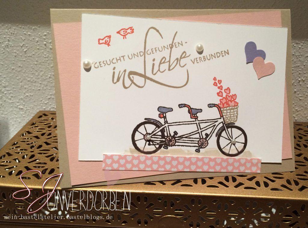 Hochzeitskarte Tandem Fahrrad In Liebe Verbunden Stampin Up