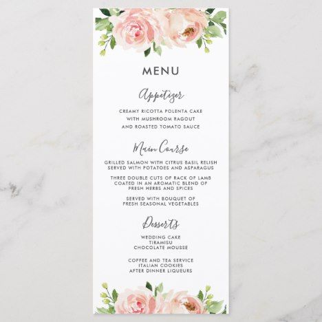 Elegant Blush Pink Floral Wedding Menu | Zazzle.com