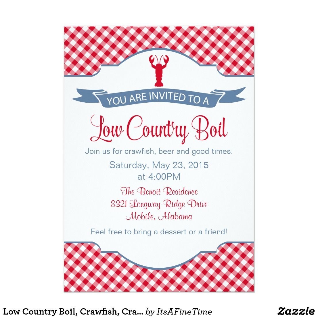 Low Country Boil, Crawfish, Crab BBQ Invitation
