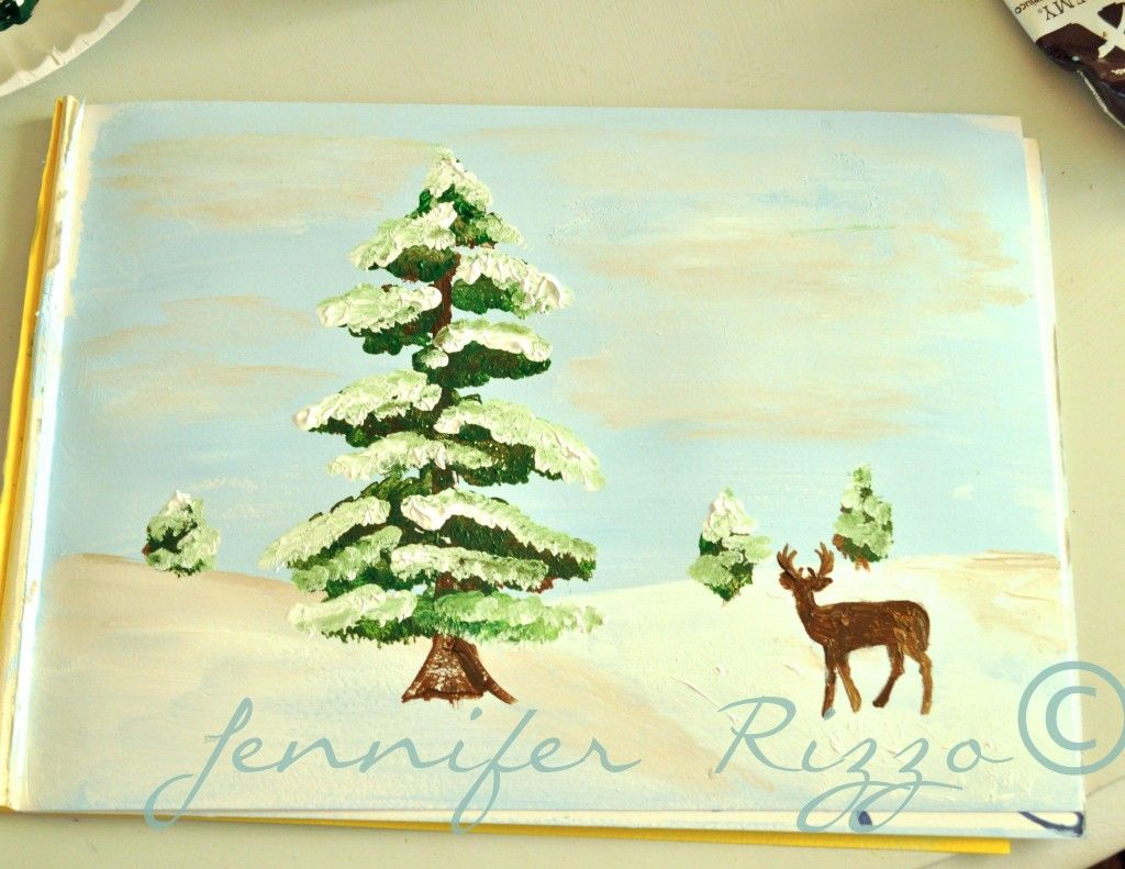 How to paint a deer with a winter scene  stepbystep