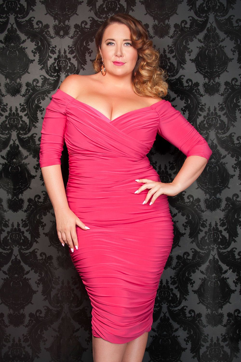Sexy Plus Size Dress in Hot Pink - Laura Byrnes California Plus Size ...