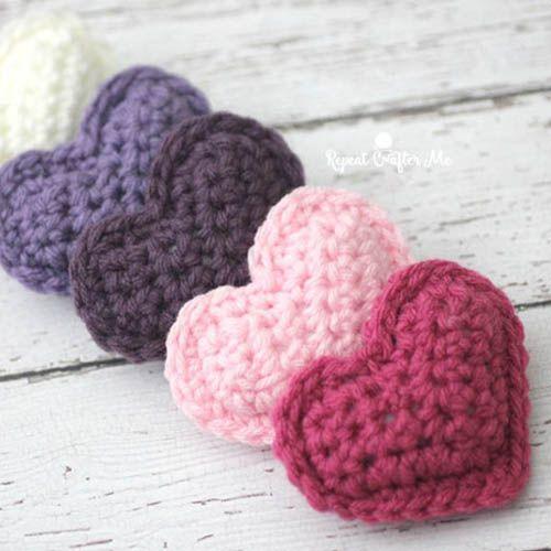 Crochet Puffy Hearts Pattern | Häkeln, Häckeln und Stricken