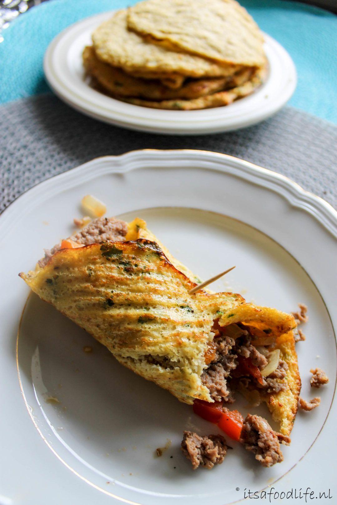 Bloemkool tortilla met pittig gekruid gehakt - It's a food life