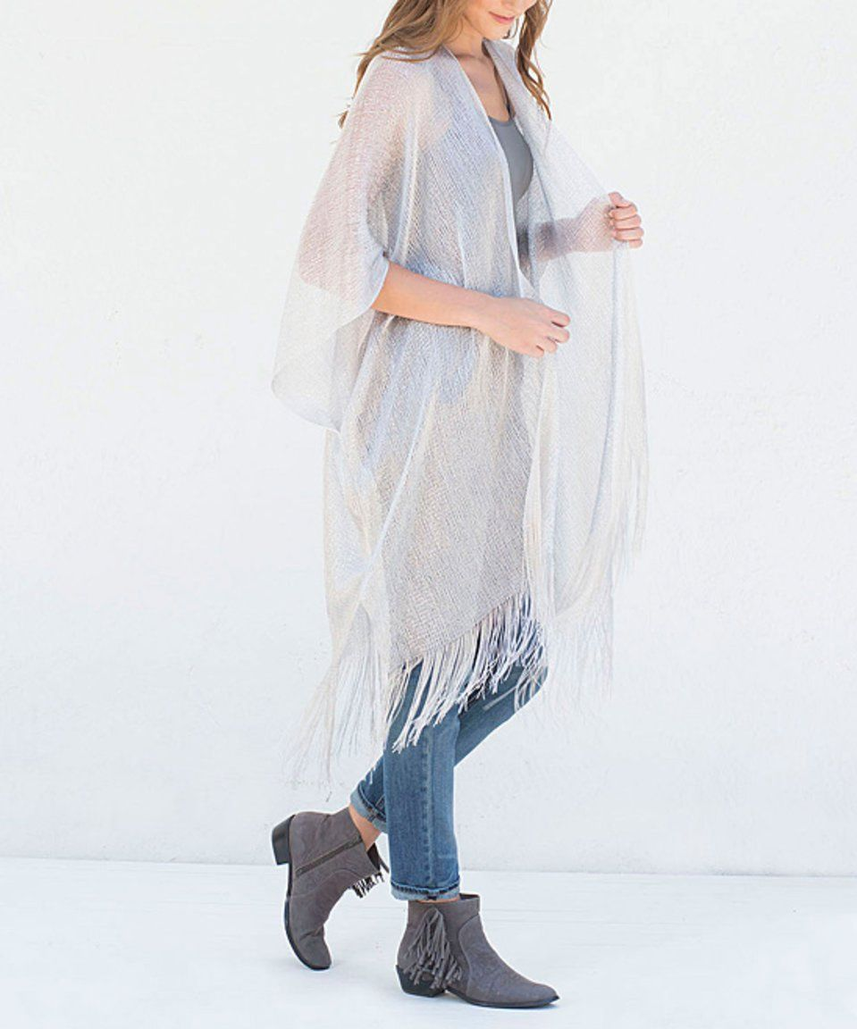 Take a look at this Aziza Silver Sheer Fringe Open Cardigan today ...