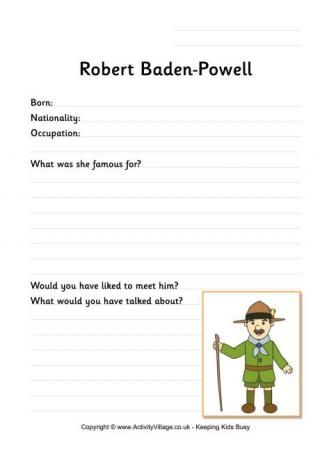 graphic regarding Cub Scout Printable Activities called Robert Baden-Powell Worksheet Scout video games Robert baden