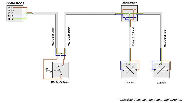 Schaltplan Einer Ausschaltung Von Zwei Lampen Ausschaltung Einer Lampen Schaltplan Schaltplan Elektroinstallation Selber Machen Elektroinstallation