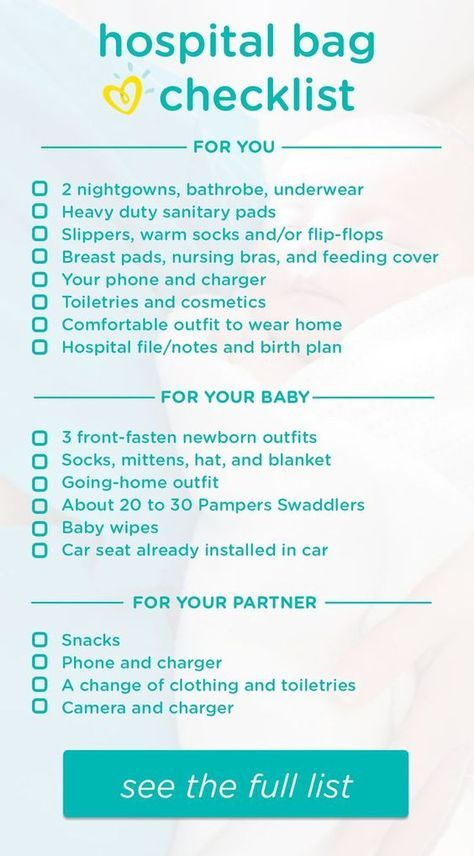 Hospital Bag Checklist What To Pack Pampers Hospital