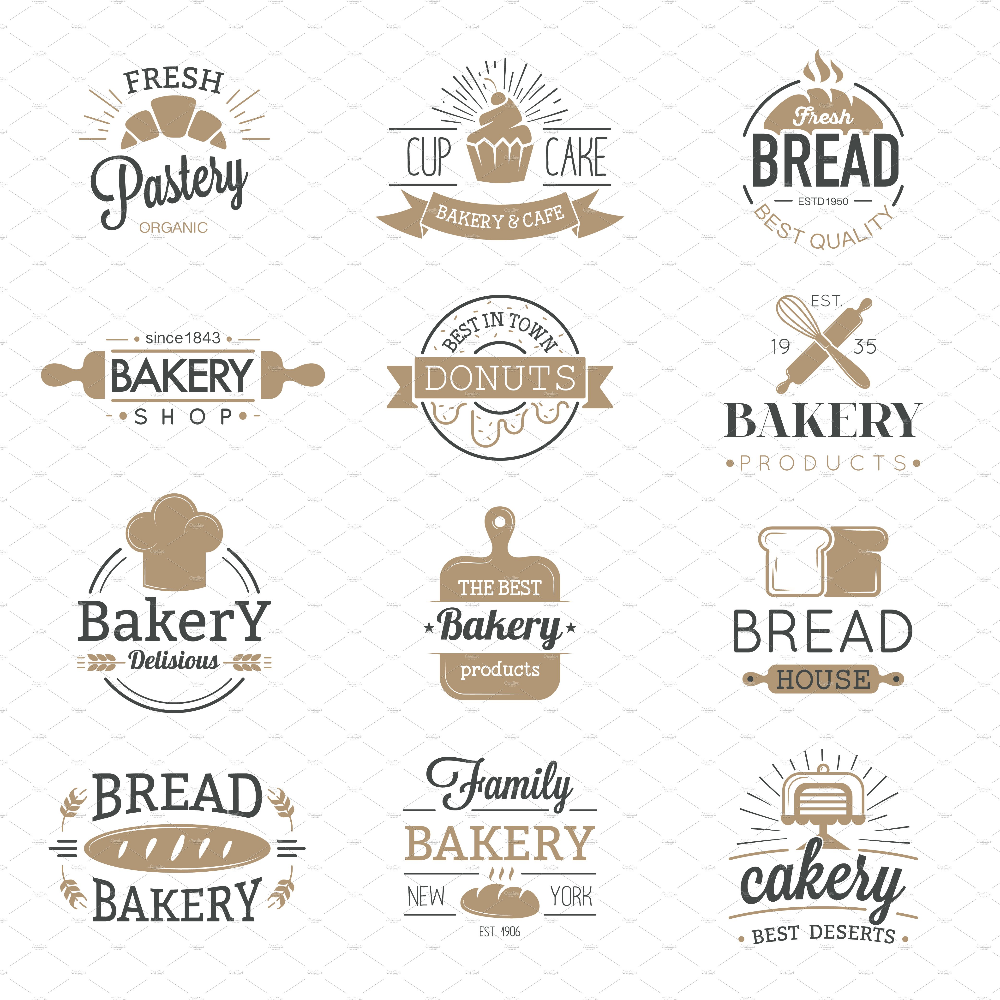 Bakery badges and logo icons vector in 2020 Bakery