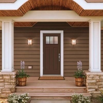 jeld wen craftsman 3 lite painted steel entry door with brickmold