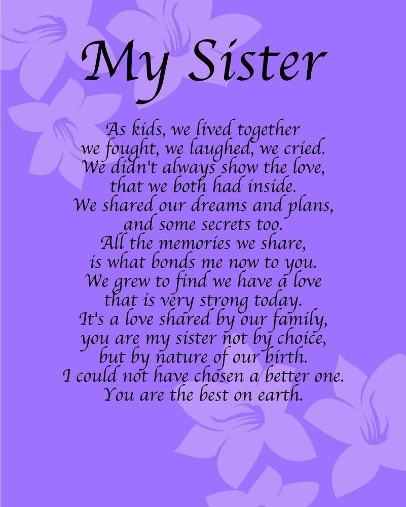 Personalised My Sister Poem Birthday Anniversay Leaving Christmas Gift Present In Home Furniture Diy Celebrations Occasions Other Celebrations