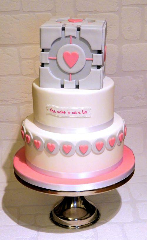 Portal Valentines cake is no lie Portal cake Portal and Cake