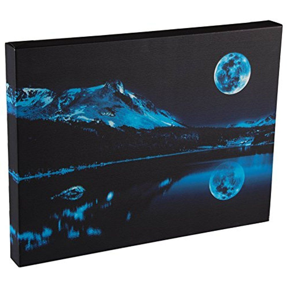 Framed blue moon over mountain modern leds canvas art picture prints