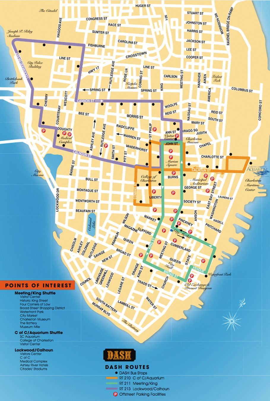 Detailed map of the Charleston DASH Trolley routes. | Charleston SC on