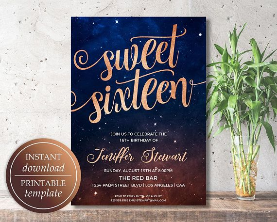 sweet sixteen birthday invitation sweet 16 invitations starry
