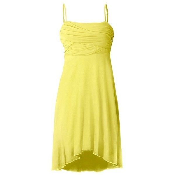 Draped bust cami dress ❤ liked on Polyvore featuring dresses, short dresses, yellow cami, yellow high low dress, yellow mini dress and yellow jersey