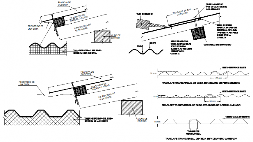 Roof Section Drawing With Different Sheet In Dwg File