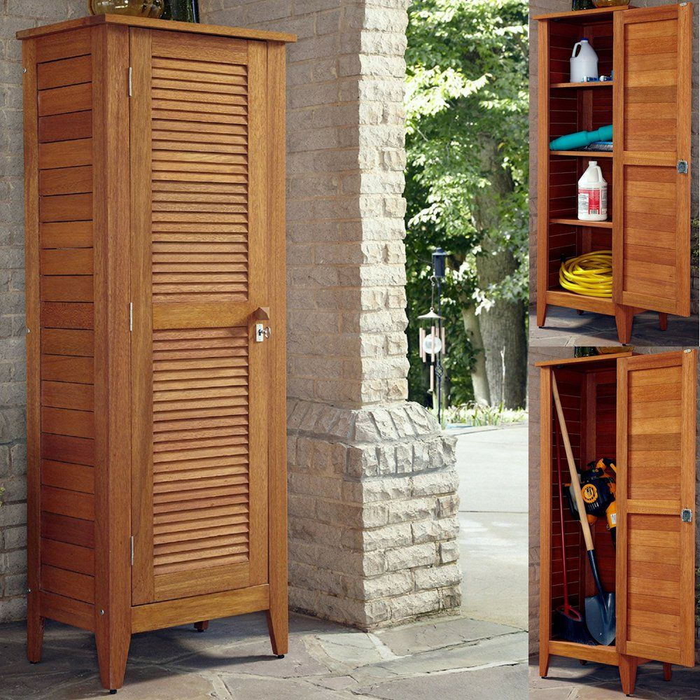 Wood Shed Storage Cabinet Outdoor Yard Island With Removable Shelves Garden Storage Equipment Lockable Louver Door Vertic Shed Storage Garden Storage Wood Shed