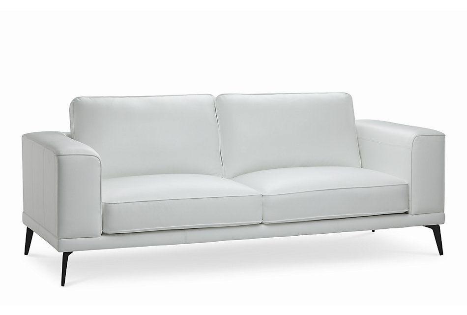 Naples White Leather Sofa With Black Legs Living Room Sofas