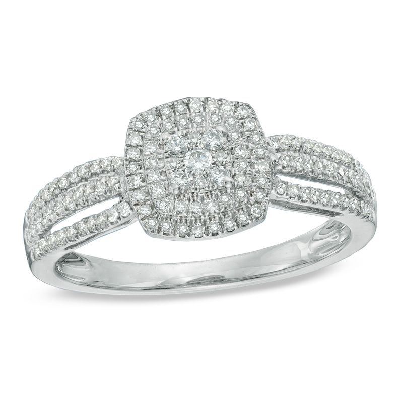 Zales 1/3 CT. T.w. Diamond Three Stone Crossover Engagement Ring in Sterling Silver and 10K Rose Gold TNpv5Hp4z