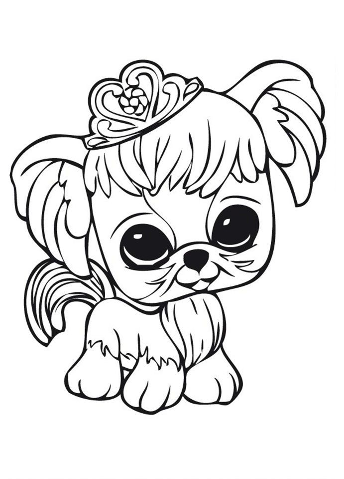 Littlest Pet Shop Dog With Crown Animal Coloring Pages Dog