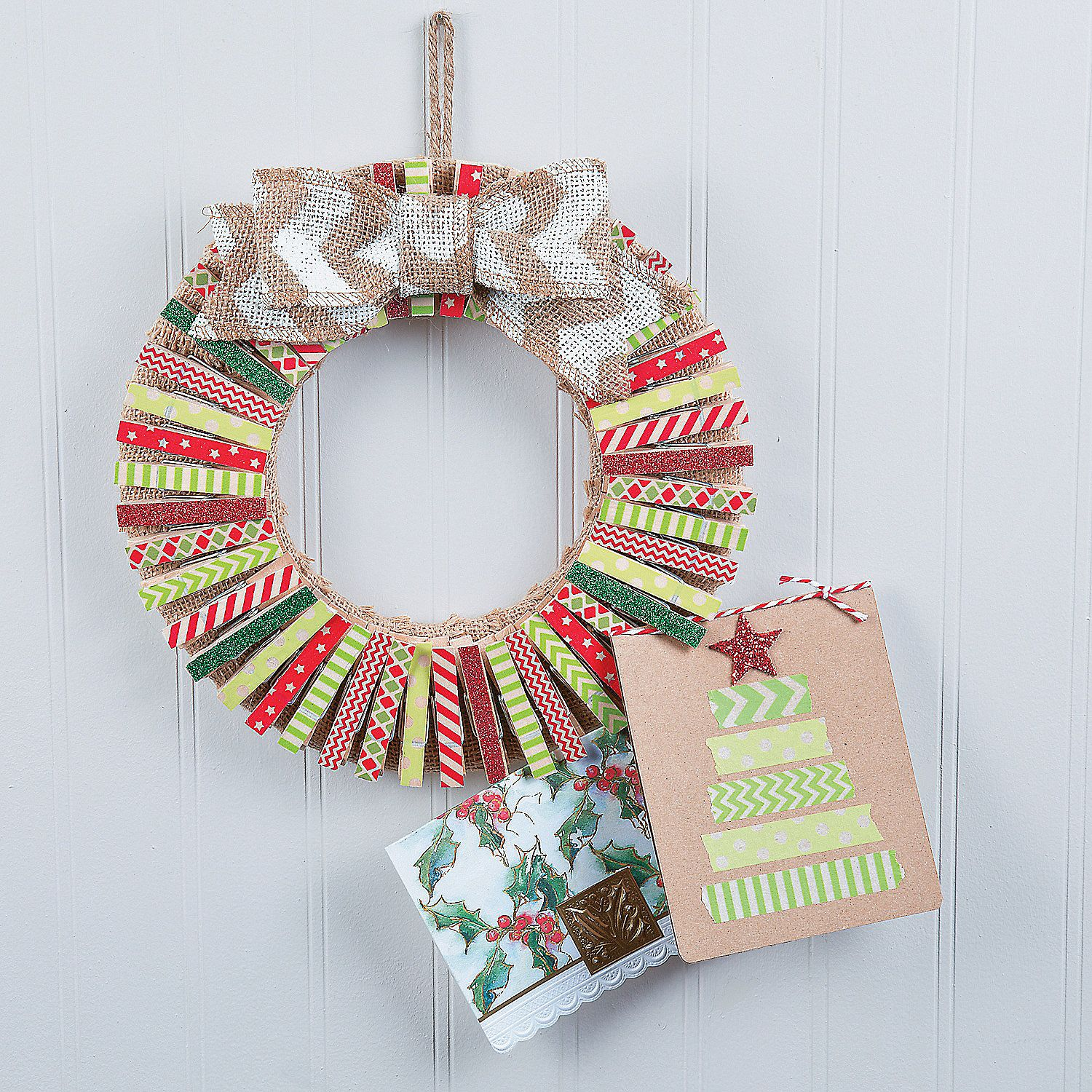 Washi+Tape+Clothespin+Card+Holder+Wreath+Décor+Idea+-+ ...