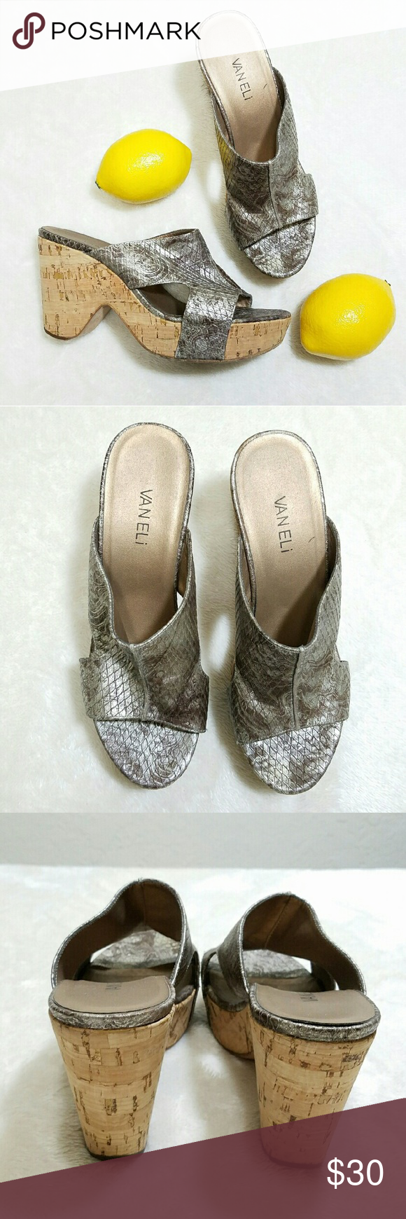 9386dd385c Van Eli Snakeskin Leather Silver Cork Wedge Heels -Excellent used  condition- slight wear on
