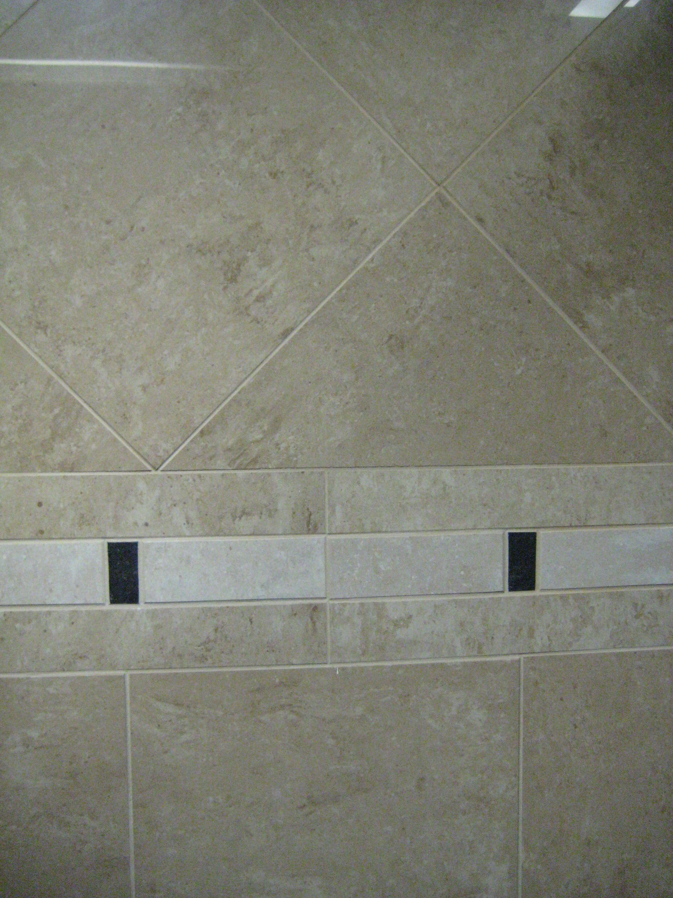 travertine shower tiles with simple border bathroom. Black Bedroom Furniture Sets. Home Design Ideas