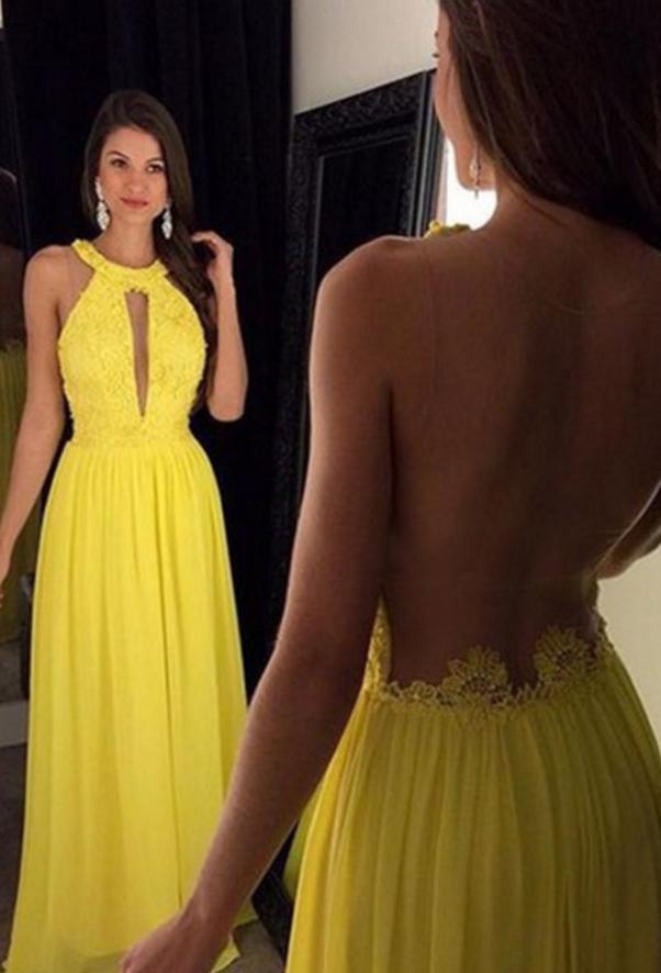 Halter Prom Dresses Floor Length Evening Dresses Real Made Charming Evening Dresses Yellow Prom Dress Long Backless Prom Dresses Prom Dresses Yellow