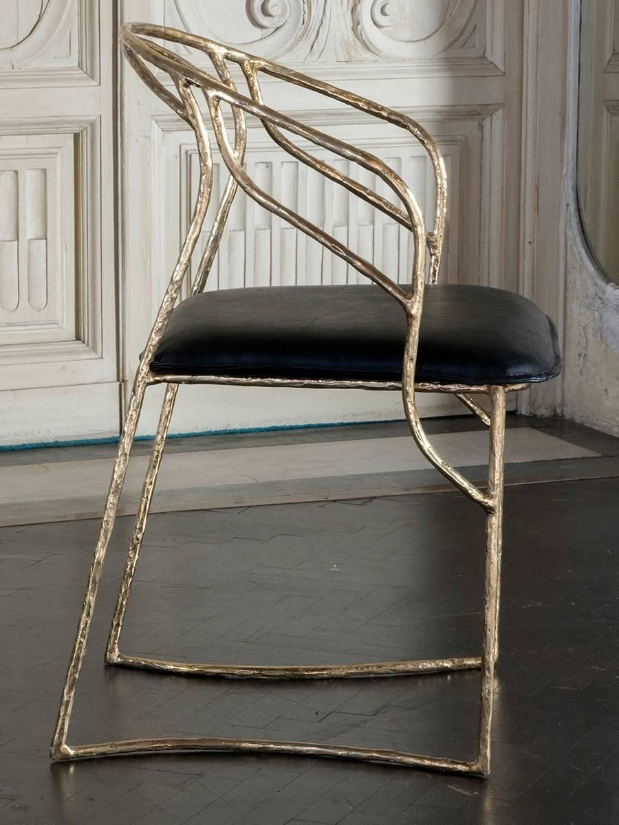 """Set of Eight """"Bamboo"""" Bronze Sculptural Chairs 