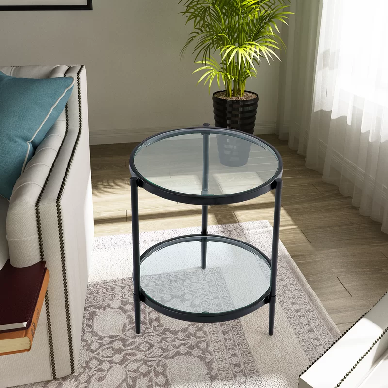 Rosamel Glass Top 3 Legs End Table With Storage Round Glass Coffee Table Coffee Table Glass Top End Tables
