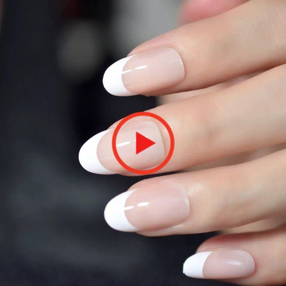 Nail Art Salon Oval Acrylic French Nail Kit Real Medium Length Grace Oval Fake Nails French Nail In 2020 Nail Art Salon Fake Nails French Nail Kit